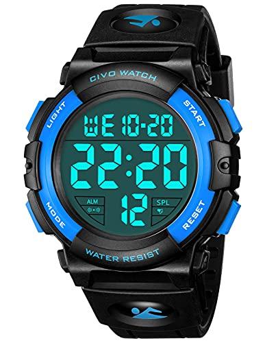 Herren Uhren Militär Digitaluhr Sportuhr Große Zahlen 50M wasserdichte Einfaches Design Armee Gummi Armbanduhr LED-Hintergrundbeleuchtung Armbanduhr Freizeituhr für Herren Blau