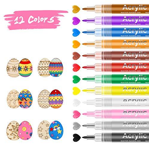 ValueTalks Rotuladores de Pintura Acrílica 12 Colores Pintura Acrílica Pluma para Cristal...