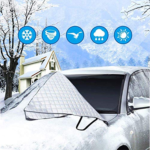 Car Windscreen Cover - Exqline Magnetic Car Sunshades Car Front Window Frost Cover, Car Sun Shade Visor Protector, Keep Your Vehicle Damage Free, Fits Windshields of SUV & Trucks