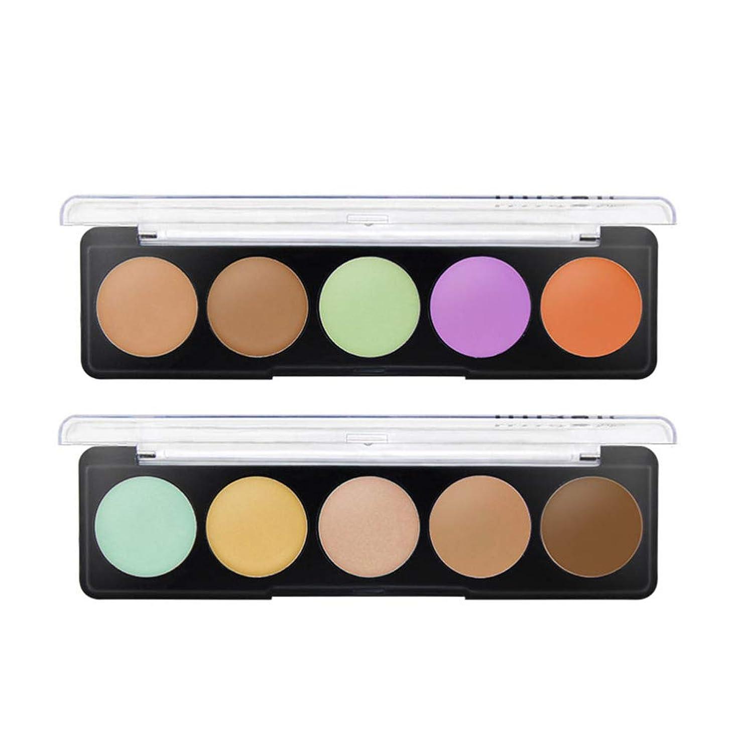 処理熟達した好きLurrose メイクアップファンデーションを強調する6色の化粧品コンシーラーパレットクリーム輪郭の2セット