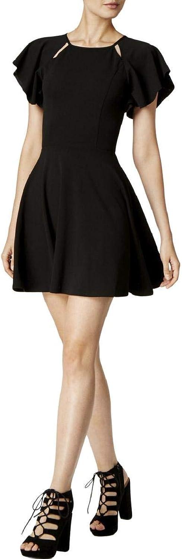 Bar Iii Womens Cutout Crepe Fit & Flare Dress