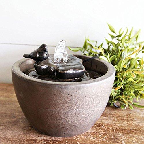 Foreside Home & Garden Bronze Bird on Leaf Indoor Water Fountain with Pump