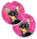 Caroline tesoros del color rosa Min Pin Set de 2cup Holder coche posavasos lh9380pkcarc, 2,56, multicolor