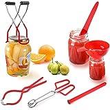 Einmach Set 6-teilig Canning Set Werkzeugset Inkl Einkochzange Glasheber Einkochen, Breite Öffnung Trichter, Deckelöffner, Deckelheber, Canning Bubble Popper, Einmachtrichter Set