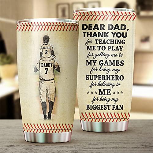 Vaso personalizado para mi papá, papá de béisbol, el mejor regalo para papá, día del padre, hijo, botella deportiva de 20 onzas de acero inoxidable con aislamiento al vacío