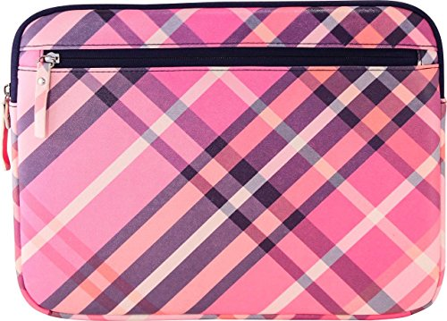 Carolina Pad Mad for Plaid Laptop Sleeve Fits most laptops with up to a 14' display Pink/purple/white