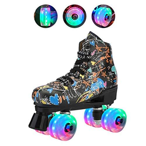 LBWNB Schwarz Rollschuhe Roller Skates Disco Roller LED Lichter Blinken Für Kinder Jugendliche Und Erwachsene,31