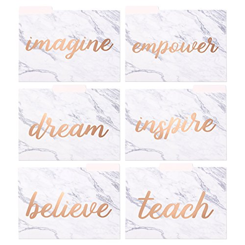Best Paper Greetings Inspirational File Folders with Marble Design (9.5 x 11.5 Inches, Rose Gold Foil, 12-Pack)