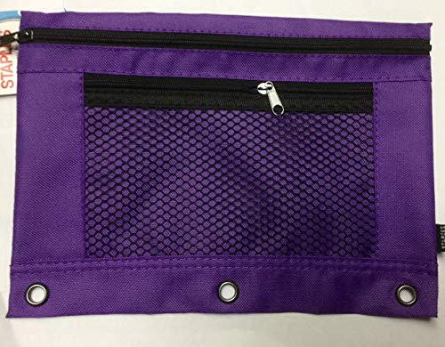 Staples 3-Ring Pencil Pouch, Purple