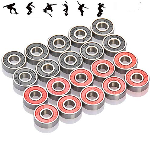 20-Pack, 608-RS Wheel Bearings Steel and Double Rubber Sealed Miniature deep Groove Ball Bearings for Skateboards, Inline Skates, Scooters (8mm x 22mm x 7mm)