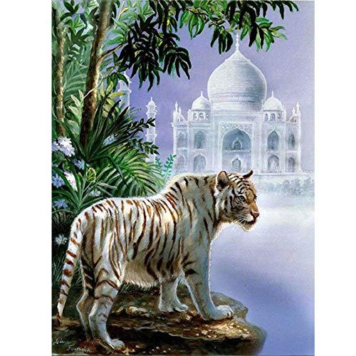 Kit completo de pintura de diamantes 5D con diseño de tigre y castillo bordado con mosaico de diamantes cuadros en punto de cruz imitación para decoración del hogar hotel salón de belleza, 40 x 30 cm