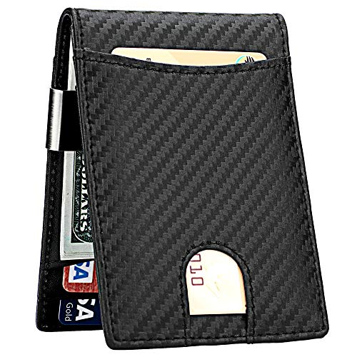 Lavemi Money Clip Wallet for Men Slim Front Pocket RFID Blocking Card Holder Minimalist Bifold Wallet(Carbon)