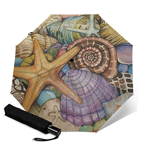 WALL-8-CC Muscheln des Meeres, bunter Strandmuschel-Regenschirm, automatischer dreifach faltbarer Regenschirm