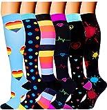 6 Pairs Best Medical Compression Socks Women Men 20-30 mmHg Knee High Stockings