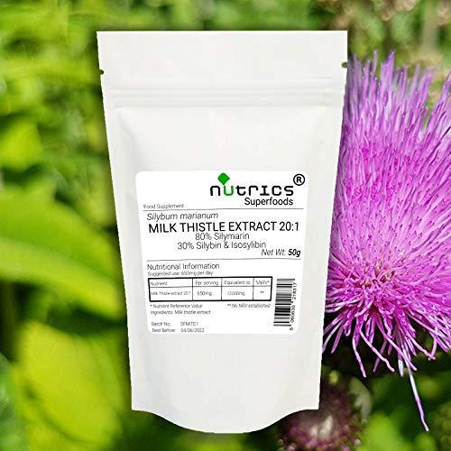 Nutrics 20:1 Milk Thistle Extract 50g Powder 80% Silymarin 30% Silybin&Isosilybin