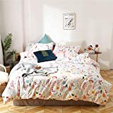VClife Floral Bedding Sets Twin Cotton Duvet Cover, Lightweight Cotton Pink White Country Duvet Cover Sets Botanical Mushroom Pattern Comforter Cover Farmhouse Botanical Bedding Sets (No Filling)