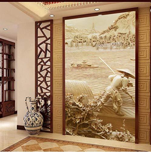 MMNEB Bajo el sur clásico relieve tallado porche de madera pasillo pared papel pintado personalizado sala de estar dormitorio fondo-250X175CM