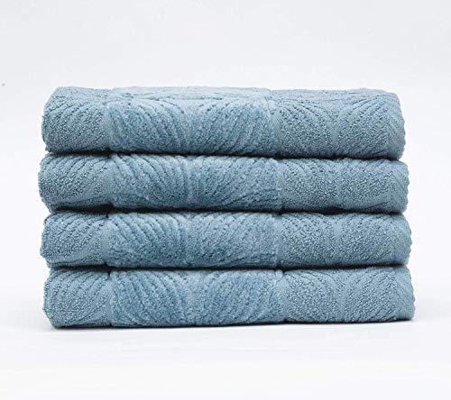 My Cooning - Juego de toallas Agatha de 4 piezas, color azul petróleo, suave y absorbente, 100% algodón, rizo de alta calidad, 4 toallas de mano (50 x 80 cm), lavable a máquina