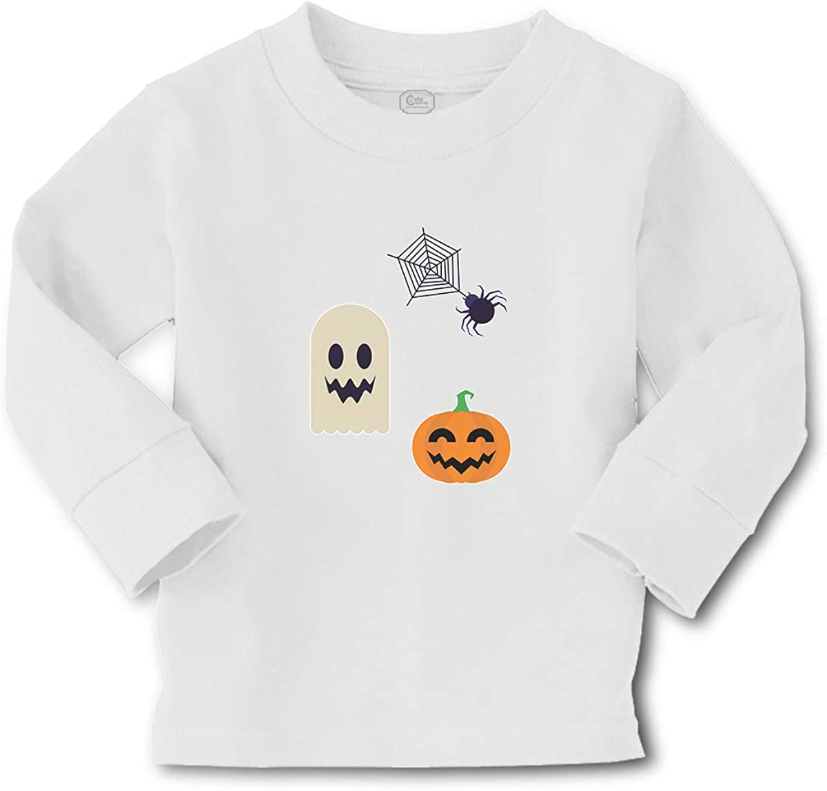 Cute Rascals Kids Long Sleeve T Shirt Halloween and Spider Web Cotton Boy & Girl Clothes Funny Graphic Tee A White Design Only 3T