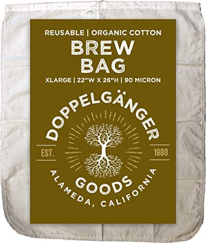 XL 22in x 26in Organic Cotton Brew In A Bag Designed in California Reusable Home Brewing Strainer product image