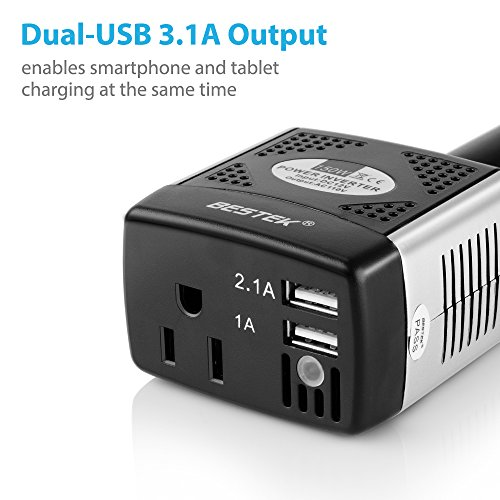 BESTEK 150W Power Inverter 12V to 110V Voltage Converter Car Charger Power Adapter with 2 USB Charging Ports (3.1A Shared)