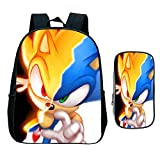XINXIANG Sonic bolsa 2pcs/set Cool Sonic Mochila Estudiantes Niños Niñas Bolsa de la Escuela Sorpresa Regalo Niños Adolescentes Regreso a la Escuela Mochila