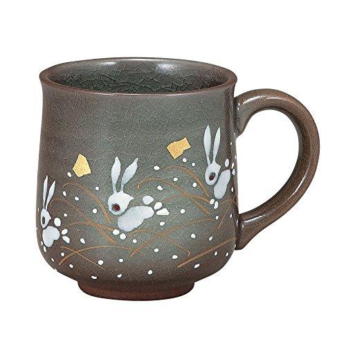 Kutani Yaki-Hopping K4-861 - Taza de cerámica para té o café (hecha a mano), diseño de conejo
