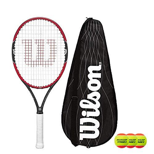 Wilson Pro Staff 25 Junior - Raqueta de tenis (3 etapas, 2 pelotas de tenis)