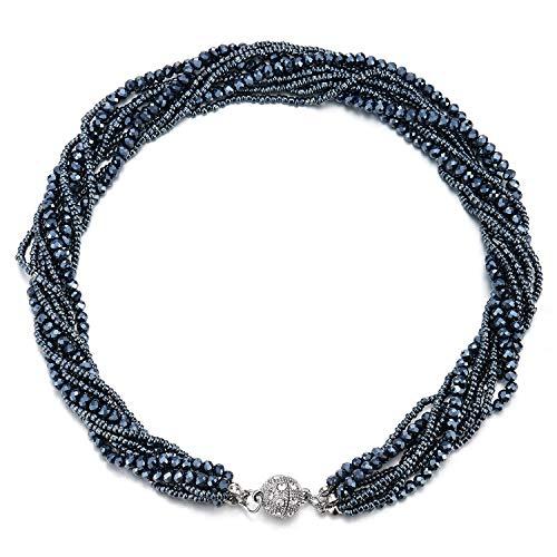 COOLSTEELANDBEYOND Dunkelblau Statement Anhänger Multi-Schichten Perlen Kristall Geflochtene Kette Halsband Choker Magnetverschluss
