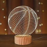 Luce notturna da basket, lampada 3D per gli amanti della musica, colori caldi in legno, idea regalo per lo sport accessorio per la casa ragazzo festival Decor