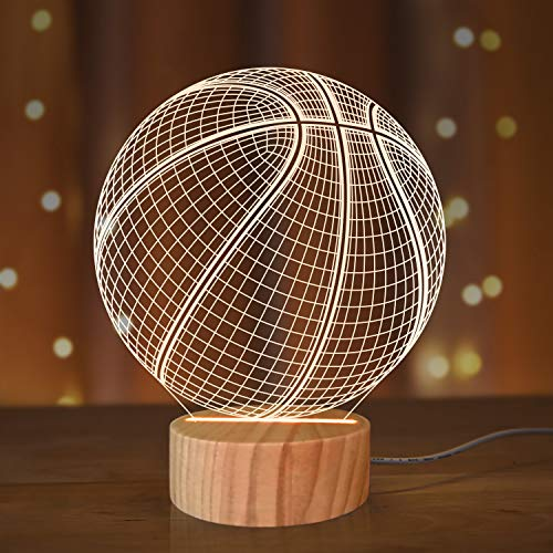 Luz nocturna de baloncesto, lámpara de ilusión de brillo 3D para amantes de la música, colores cálidos, de madera, hecho a mano, ideal como accesorio deportivo para el hogar y el festival