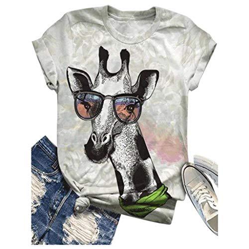 ELECTRI T-Shirt à Manches Courtes Top Femme T-Shirt Tees Impression lâche Haut T-Shirts de Sport D'été Tee Shirt Chemisiers