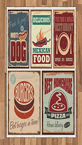ABAKUHAUS Retro Alfombra de Área, Nostálgicos Signos de Latón Carteles de Comida Mexicana Envejecidos Diseño Artístico, Tejido Durable Decoración para Cualquier Ambiente, 80 x 150 cm, Multicolor