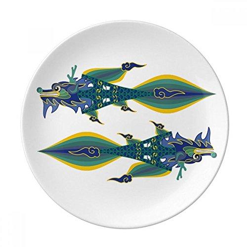 DIYthinker Chine France Tour Eiffel Dragon de Chine Porcelaine décorative Dessert Plate 8 Pouces Dîner Accueil Cadeau 21cm diamètre Multicolor