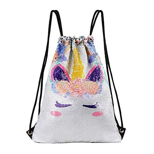 Topdo - 1 mochila portátil con diseño de unicornio, diseño de unicornio con lentejuelas a 45 * 35cm