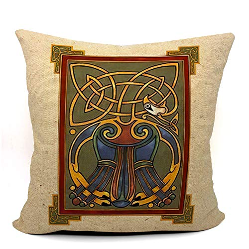 Mancheng-zi Kells Celtic Throw Pillow Case, Kells Celtic Decor, Gift for Irish, Son, Daughter, Sister, Wife,18 x 18 Inch Linen Kells Celtic Art Cushion Cover for Sofa Couch Bed 02