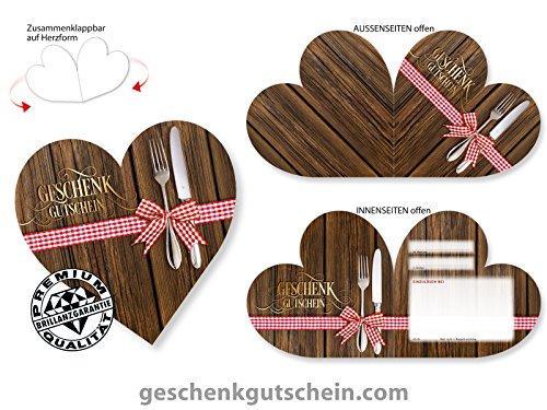 10 Stk. Herz-Gutscheine G450 für Restaurants, Gaststätten und die Gastronomie