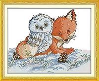 初心者のためのカウントされたクロスステッチキットフォックスフクロウクロスステッチキットは、初心者のための刺繡スターターキットのフルレンジを刻印しました装飾絵画DIY 11CT