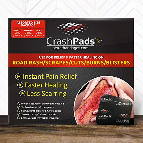 Assorted CrashPads® Adhesive Bandages for Road Rash, Raspberries, Cuts, Scrapes and Burns (Crash Pads roadrash Dressing) [14pcs: 2-Large, 4-Medium and 8-Small]