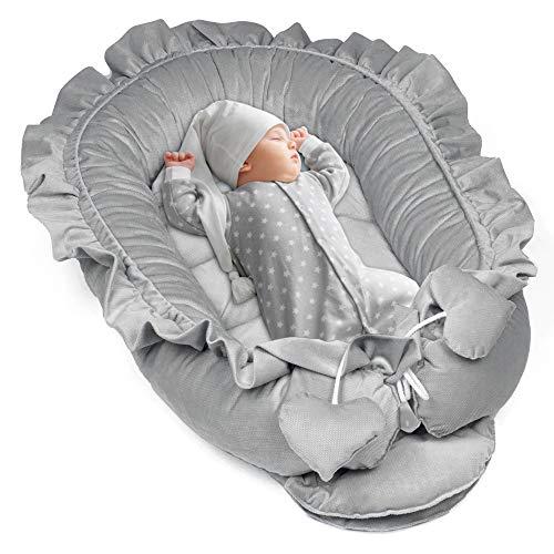 Babynestchen Set Neugeborene - Kuschelnest Baby Nestchen Bett Kokon Fleecestoff Grau 90x50cm