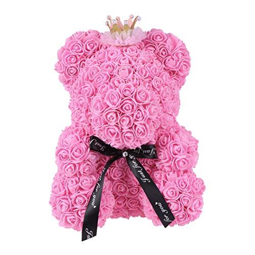 Amosfun forma di orso sapone fiore di rosa simulazione orecchio rosa decorazione floreale floreale profumato bagno foglia d'oro fiore per regalo di san valentino fidanzata donna 40cm