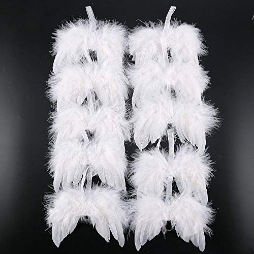 DOXMAL 10 Pcs Engelsflügel Federn Flügel Engel Anhänger Weihnachtsbaum Deko Christbaumschmuck Baby Taufe Deko DIY Basteln Kinder - 16cm Weiß