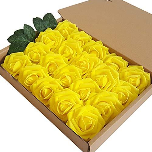 Flores Artificiales Rosas, 20pcs 7 Cm Tamaño Toca Real Toque Rosas Falsas con 6 Hojas De Rosa Impresas De Seda De Alta Imitación, Buques De Novia Bouquets Decoración del Hogar (Color : Yellow)