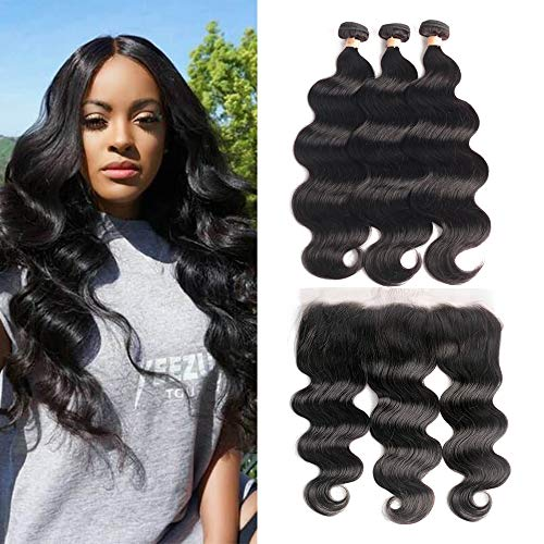 3 Bundles with Frontal Body Wave 18 20 22+16 Frontal Brazilian Virgin Real Human Hair Extensions with Closure 13x4 Lace Frontal Natural Color LUXEDIVA Wavy Weft