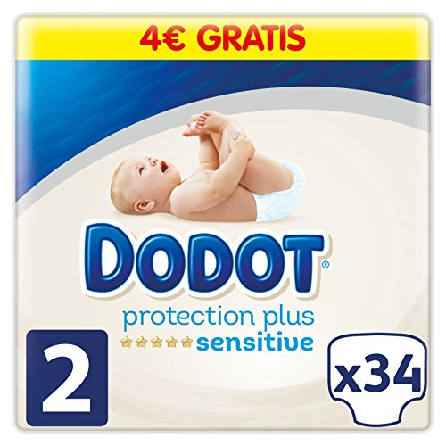 Dodot Pañales Protection Plus Sensitive, Talla 2, para Bebes de 4 a 8 kg - 34 Pañales