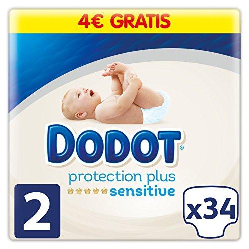 Dodot Pañales Protection Plus Sensitive, Talla 2, para Bebes de 4 a 8 kg - 34 Pañales