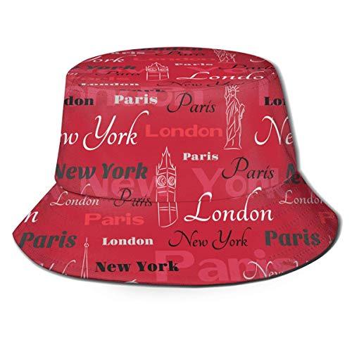 Cappello da Pescatore Estivo da Pescatore New York London Parigi Stampa Artistica Cappello da Pescatore Estivo Cappello da Sole Nero