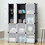 Tangkula DIY Storage Cubes, Portable Clothes Closet Wardrobe Cabinet Bedroom Armoire DIY Storage Organizer Closet (12 Cubes)