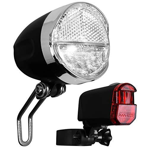 Fahrrad Frontleuchte und Rückleuchte mit Batterien und StVZO-Zulassung Set Fahrradbeleuchtung Fahrradlicht Rücklicht Frontlicht Fahrradleuchte