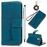 YOKIRIN Huawei Honor 6A Lederhülle Hülle Hülle für Huawei Honor 6A Flipcase Tasche Handyhülle Etui Eule Baum Muster PU Leder Schutzhülle Kartenfächer Magnetverschluss Cover Handyhalter Blau